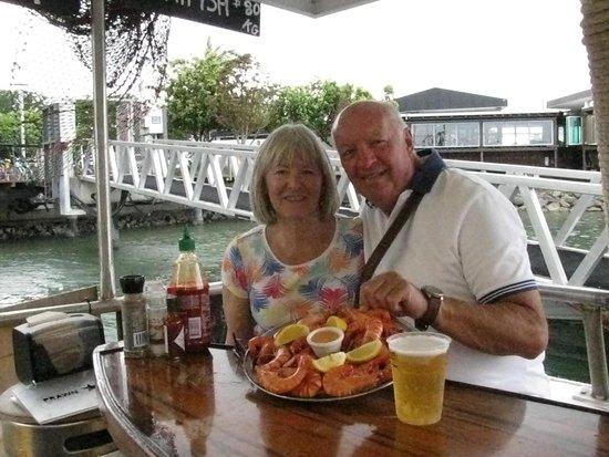 Esplanade Boardwalk: King Prawn platter onboard the Prawn Star -Eplanade Cairns