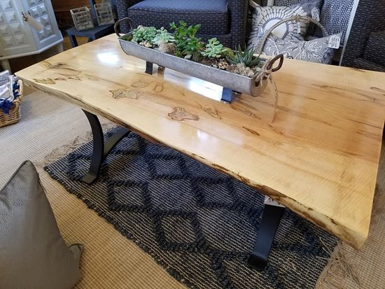 Live Edge Maple Coffee Table With Custom Metal Base Picture Of