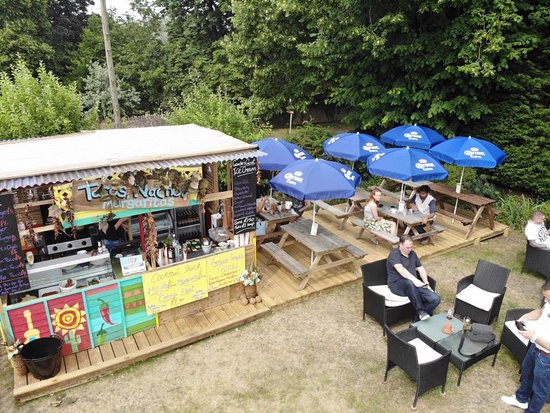 Beer garden with our outside food shack!