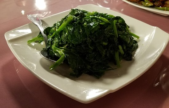 "Franklin Square, NY: Mom says ""eat your veggies"". We did! Saute pea leaves with garlic sauce!"
