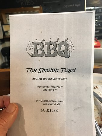 Williamsport, MD: Front page of The Smokin Toad Menu
