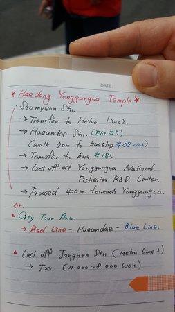 วัดแฮดอง ยงกุง: note/direction from a friendly volunteer at cruise port terminal