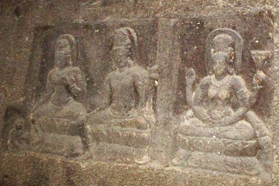 Hindu deities carved on the stone walls