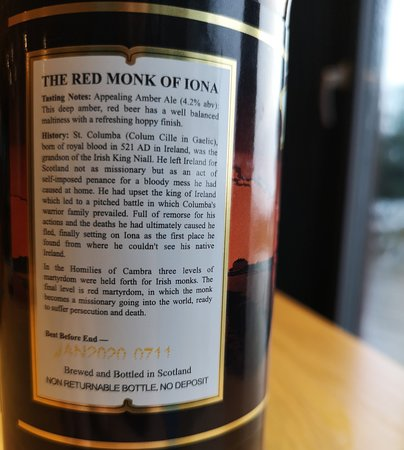 Salen, UK: Red Monk of Iona Amber Ale - NOT Brewed on Mull(!) - by 'The Isle of Mull' Brewing Co.(Rear Labe