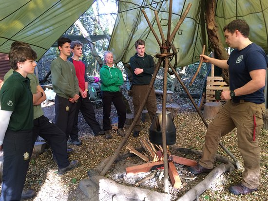 Hidden Valley Bushcraft: Instruction on arrival - how to safely operate the camp kettle.