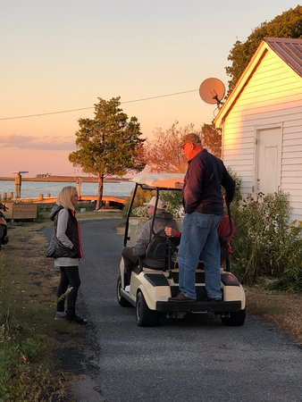 Golf carts are common transportation on Tylerton
