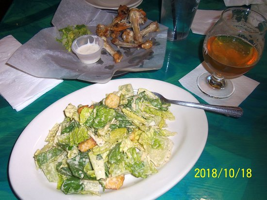New Boston, NH: Tasty Caesar salad after scrumptious Chicken Wings