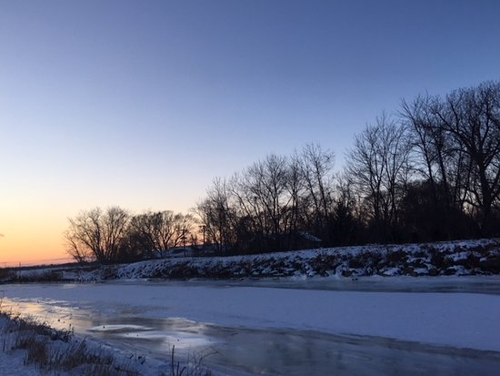 Curtice, OH: The semi frozen channel where boats enter Lake Erie.