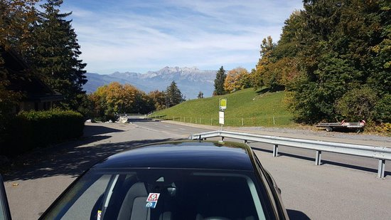 Ski Resort Malbun: Car Park on road from Vaduz to Malbun..... the sky is so blue