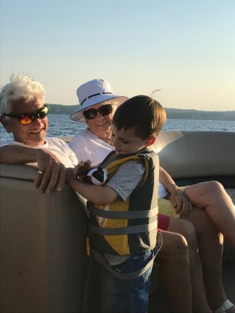 Sebago, ME: Nothing better than a day on the Pontoon with Nana & Papa