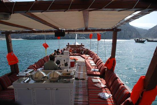 Dubai Desert Tours: Upper Deck of the cruise/ boat in oman musandam tour