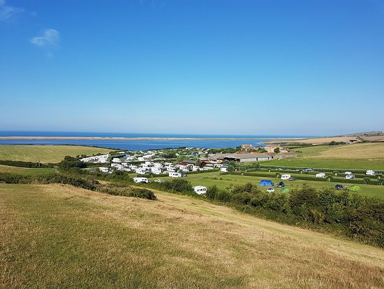 Chickerell, UK: A sunny day at East Fleet from Crook Hill.