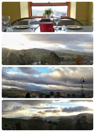Trawsfynydd, UK: Kitchen set up for breakfast and look at that view!
