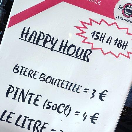 Happy Hour chaque après midi de 15h00 à 18h00