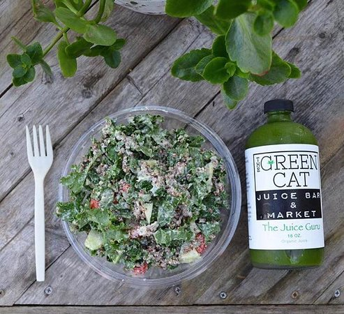 Kale pesto salad and the juice guru.. they are a perfect pair.