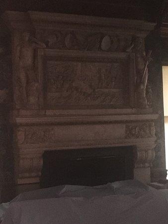 Vanderbilt Mansion National Historic Site: Carved fireplace