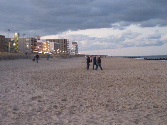 The beach is not far from the boardwalk