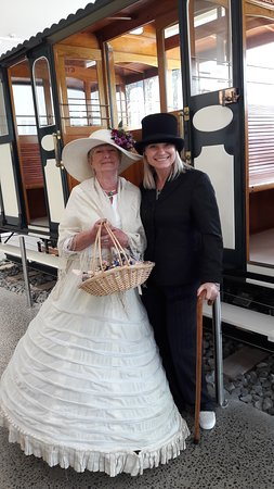 Gisela and Angela in 1900 attire at the Wellington Cable Car museum