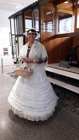 Julie in 1900 attire at the Wellington Cable car museum