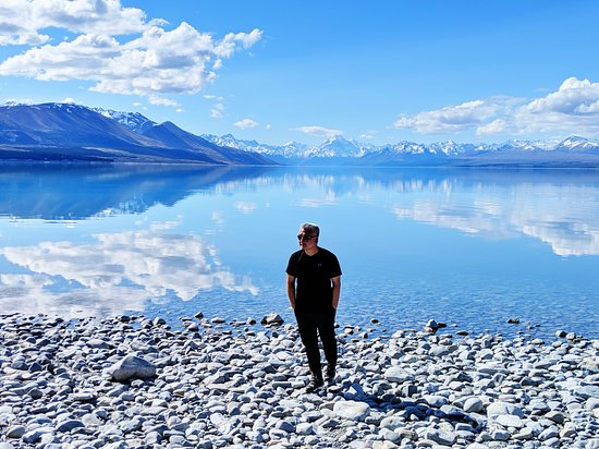 Enjoying the calmness this afternoon at Lake Pukaki.