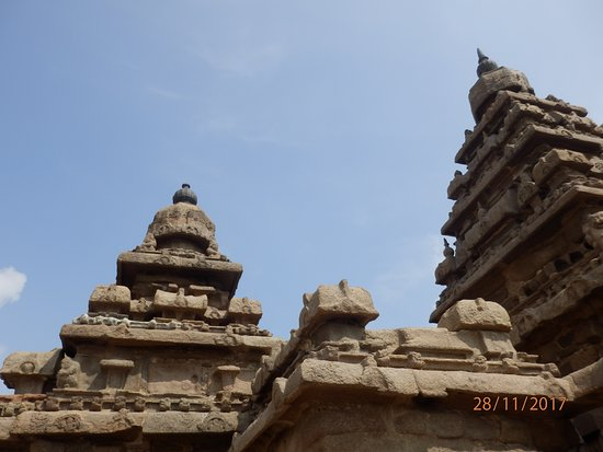 A close up of the temple showing delicate carvings.