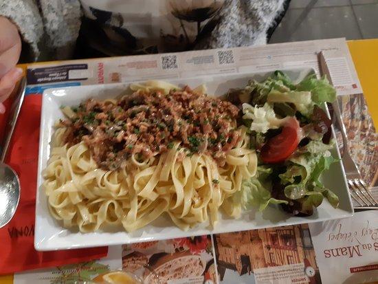 pâte lardon champignon