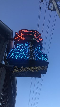 The Deckhouse crab shack: sign on the front