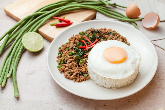 TukTuk Thai Bistro: Steamed rice & stir-fried minced pork w/ holy basil & egg