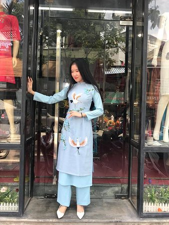 Silk Vietnamese traditional dress with ribbon embroidery by hand
