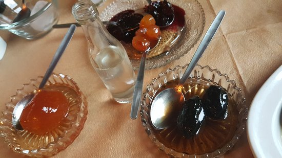 Pouri, Hellas: Home made Tziporo (figs...) and local sweets