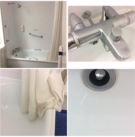 Four Marks, UK: Dirty bathroom with hair in sink & bath, although relatively clean shower curtain - makes a chan