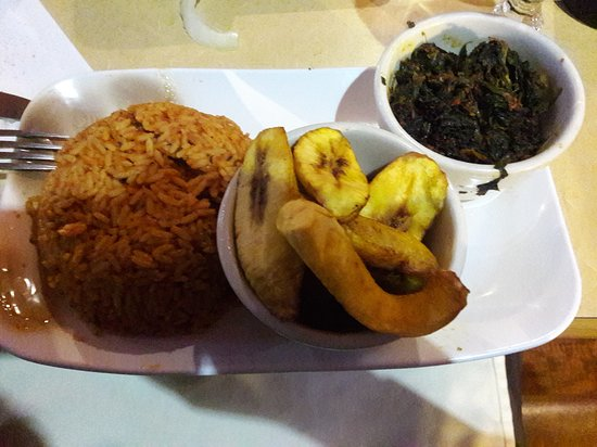 Jollof Rice, plaintains, and collards/spinach