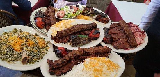 Raffi's Place Restaurant: Barg and Koobideh Kebab, albaloo polo, baghali polo with lamb shank