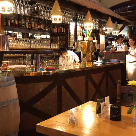 Interior restaurant and popular pork knuckle meal