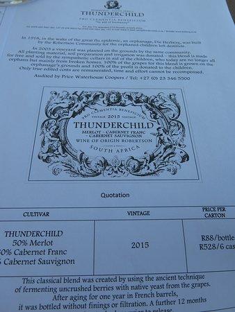 Springfield Estate Winery: Thunderchild wine.