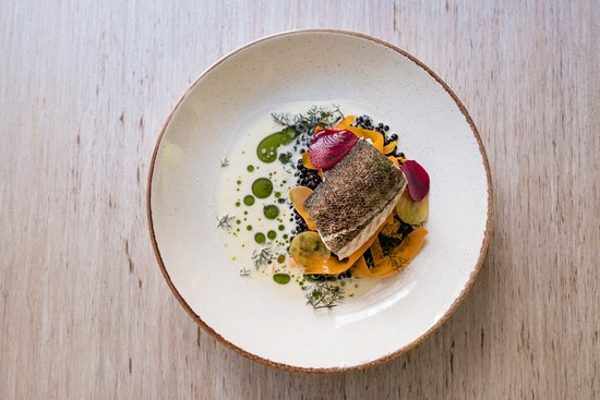La Bottega Gastronomica: Cod with Beluga lentil and fermented carrot, kephir, pink pepper and beetroot