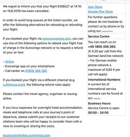 Email cancelling flight the day before trip  - Picture of