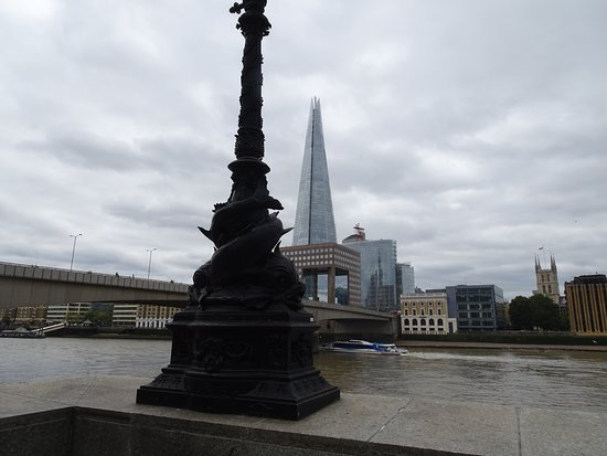 Looking across the Thames at the Shard and financial area
