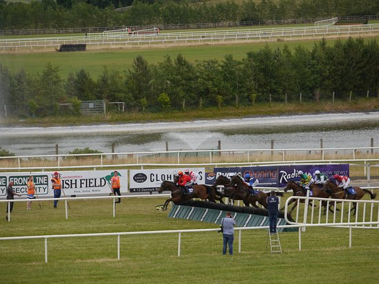 Patrickswell, Irland: Horses leaping over the final jump!