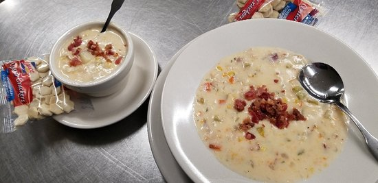 The three C's Chowder  With clams. Crab and corn spiked  With shrimp a local favorite