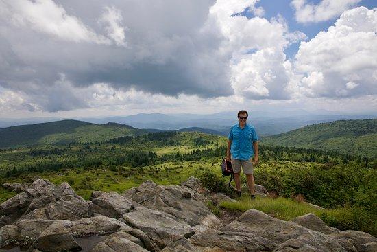 Dennis Severt hiking in Grayson Highlands State Park