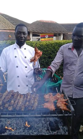 Lira, Uganda: Delectable barbeque. Hosting happy people from all over the world. Denmark, Netherlands, USA, Me