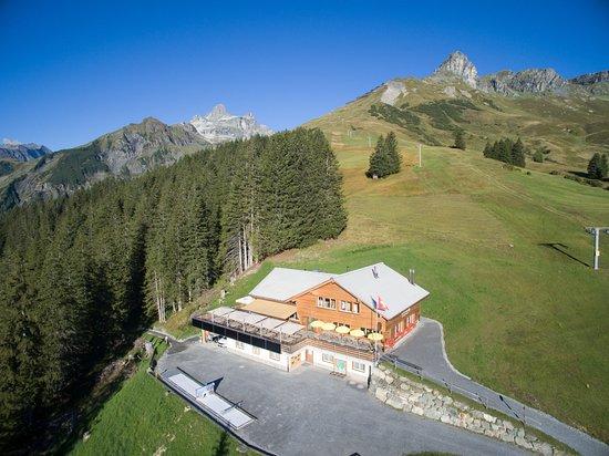 Berghotel Bischofalp, Elm, aus der Luft