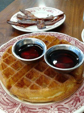 Waffle and bacon with warm syrup