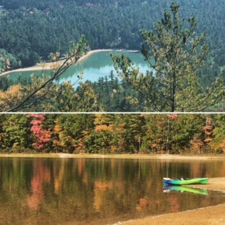 Top: Echo Lake as seen from Cathedral Ledge. Bottom: Echo Lake at ground level