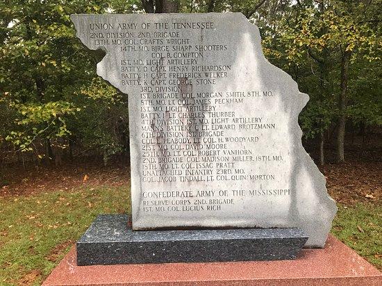 Shiloh, TN: Missouri monument to Union and Confederate units
