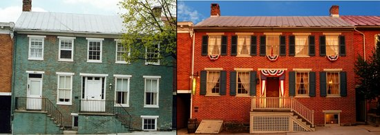 The Shriver House before and after the restoration.