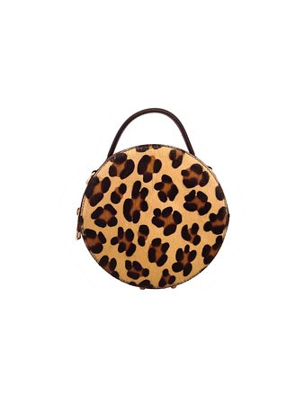 Cavallino Leopard printed cylindrical bag with crossbody - Genuine Leather