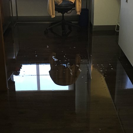 Flooded hotel room