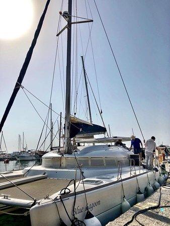 Santorini Sailing: our boat, the blue lagoon